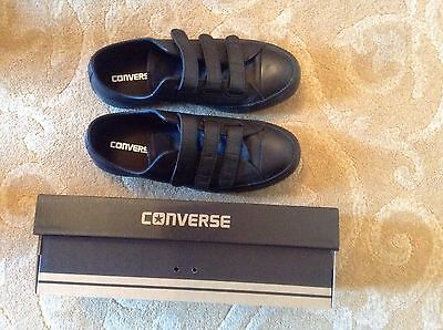 Black Leather Converse Size 6 Velcro Fasten