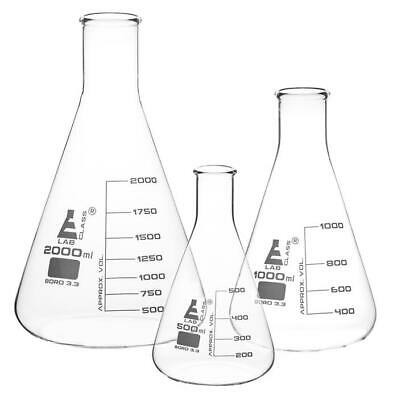 Conical Flasks Erlenmayer Laboratory Glassware Borosilicate Glass Various Sizes