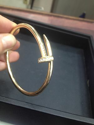 Solid Heavy 9Ct Gold Nail And Diamond Juste Un Clou Style Ladies Bangle 30G