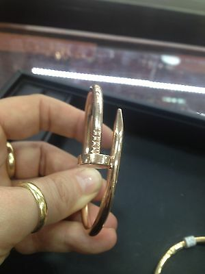 Solid Heavy 9Ct Rose or Yellow Gold Nail Juste Un Clou Style Ladies Bangle 30G