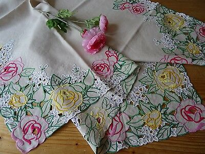 Stunning Vintage Hand Embroidered Cutwork Matching Tablecloth and Traycloth