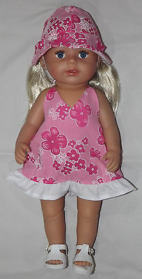 Pink and white Dress with Hat, Doll Clothes 4 Baby Born / Baby Alive