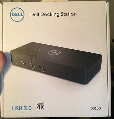 Brand New Dell D3100 Ultra Hd 4K Superspeed Docking Station Usb 3.0