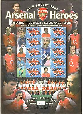 Gb Arsenal Unbeaten League Record 2004 Sheet Stamps Royal Mail A4 Size