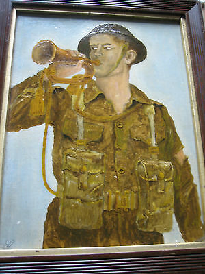 Soldier With Bugle.1st World War Painting.Signed