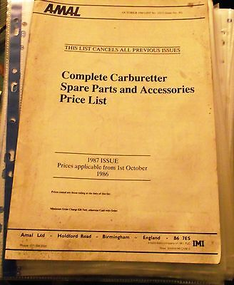 Amal Complete Carburetter Spare Parts And Accessories Price List / Catalogue