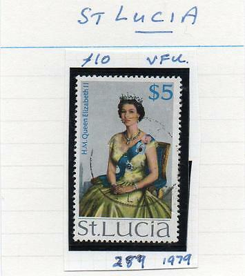 St Lucia   QE II  scan 2130 $5 SG 289 Very fine used Cat £11