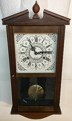 VINTAGE MONTGOMERY WARD 30 DAY REGULATOR CLOCK KEY WIND WOOD WALL CLOCK 1970's