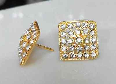 22k 24k Yellow Thai Gold Plated American Diamond Square Shape Stud Earrings Set