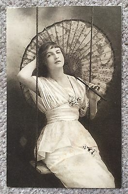 Old Postcard - Glamour - Vivian Mansell - Lady With Parasol