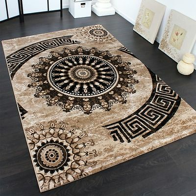 Living Room Rug Modern Classic Design Short Pile Small Large Size Brown Mats