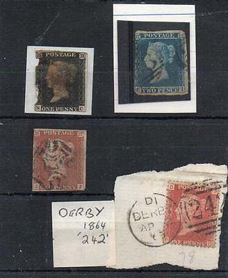 Queen Victoria 1d black 1840 red MX  clean with faults scarce DD 2d blue good Ms