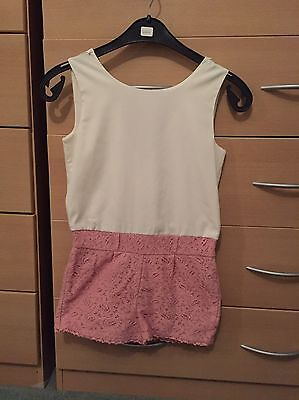 Girls Pink And Cream Playsuit Age 9 Years