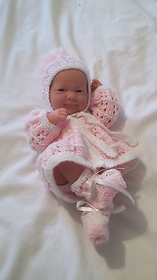 """Hand Knitted White Matinee/Hat/Bootee to fit 14-16"""" Reborn/Early baby girl"""