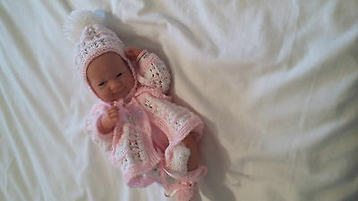 """Hand Knitted Pink Matinee/Hat/Bootee to fit 14-16"""" Reborn/Early baby girl"""