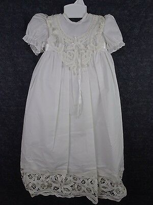 Julius Berger Vintage Long Christening Satin Gown w/Bonnet white sz Newborn/3mo