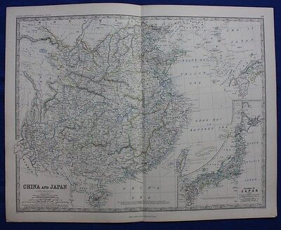 Original large antique Victorian map CHINA AND JAPAN, A K Johnston,1868