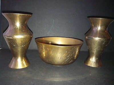 Chinese Brass Vases and Bowl.