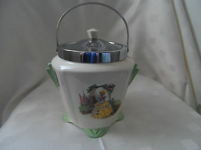 Falconware Yellow Crinoline Lady, Art Deco Style Biscuit Barrel.