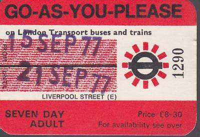 London Underground Railway & Bus ROVER Ticket GO AS YOU PLEASE 1290