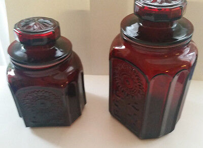 """Wheaton Red glass sunflower cannisters w glass lids 8"""" and 10"""" cannisters"""