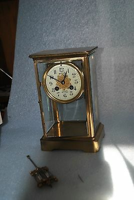 Antique Marti Medaille D'Argent Crystal 4 Glass Brass Clock 1889