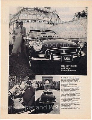 1972 MGB Convertible Sports Car British MG Vintage Original Photo Print Car Ad