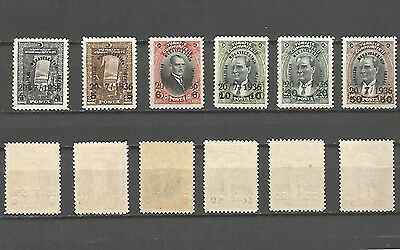 Turkey 1936 : Nos. 696, 698, 701-704 Surcharged in Black - Sc. 775-780 - MNH VF