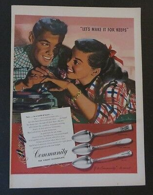 Advertising Fine Original Print Ad 1950 Community Silverplate Jon Whitcomb Artwork Christmas