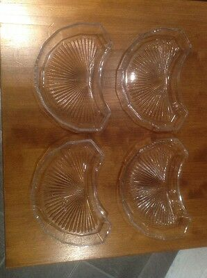 4 Art Deco Cut Glass Vegetable Side Dishes With Stylised Sun Ray