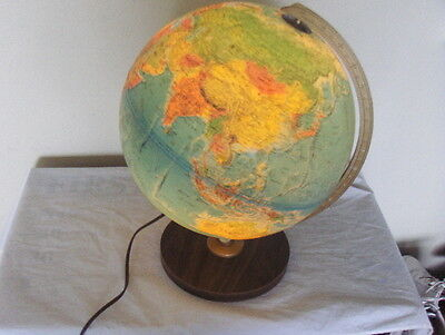 "NICE Vintage 12"" Replogle World Horizon Series Lighted Globe Old USSR Wood Base"