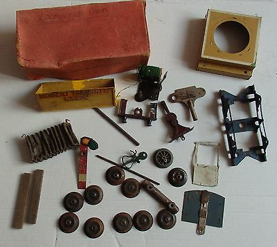 O Gauge Hornby job lot tin plate train Wheels signal spares in No2 Special box