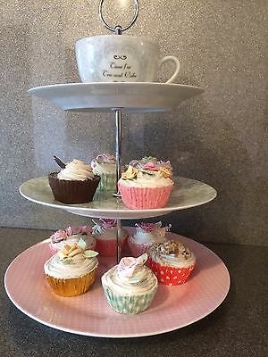Artificial Fake 10 Assorted Cup Cakes - With M&S Cake stand