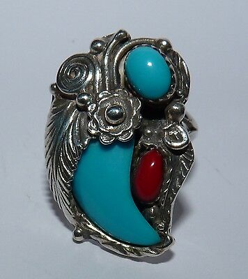 Sterling Silver Navajo Turquoise & Coral Faux Bear Claw Ring. Size P.
