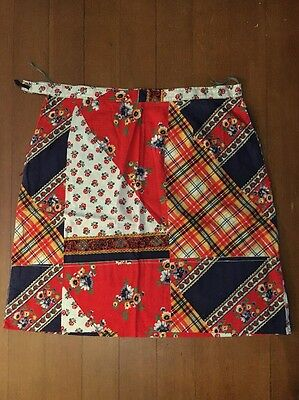 Women's Vintage Style Patterned Skirt Blue Red Floral Size Approx 14