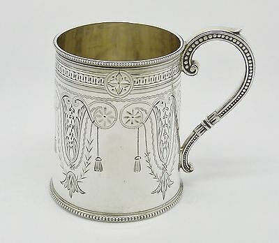 RARE GORGEOUS VICTORIAN SOLID STERLING SILVER CHRISTENING MUG CUP HM 1879 - 105g