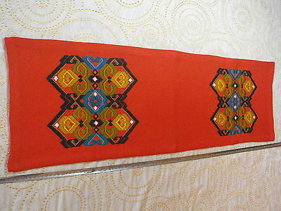 Vtg Hand Woven Hand-embroidered Wool Runner - Scandinavia red, green and black
