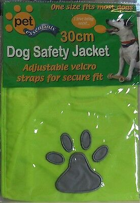 NEW - DOG SAFETY JACKET / VEST, 30 cm, REFLECTIVE, YELLOW with GREY PAW print