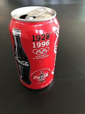 1996 Dark Bottle 68 Years of Olympic Support Coca Cola Classic Coke Soda Pop Can