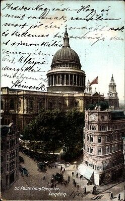Ak London City, View of St. Pauls Cathedral from Cheapside - 1056386