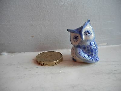 Owl - Pottery - Cute & Collectable Miniature Round, Plump Light Blue Owl