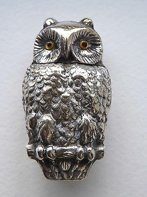 Antique Victorian Silver Plated Novelty Owl Vesta Case - c.1890 - 1900