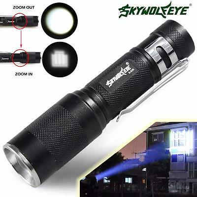 4000LM Zoomable CREE XM-L Q5 LED Flashlight 3 Mode Torch Light Lamp Black Y4