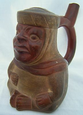 Rare Ancient South American Inca / Moche Type Pottery Character Face Stirrup Jug