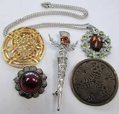 Scottish silver metal & amber glass brooch (Mizpah) + Celtic scarf clip + 3