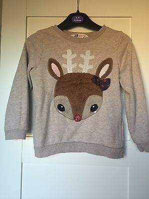 H&M Girls Reindeer Jumper Age 2-4 Great Condition