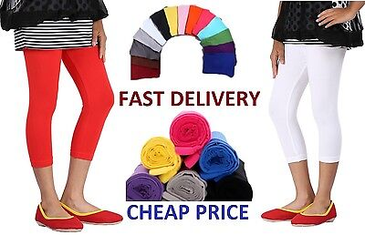 Cotton Leggings 3/4 Length All Sizes and Colors -3/4ctnlg