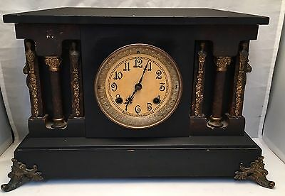 "Antique 18"" New Haven 8-Day 6 Column Lion Head Black Mantle Clock Cathedral Gong"