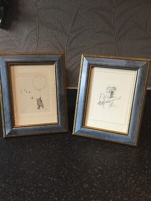 2 Lovely Greeting Card prints of Pencil sketches of Winnie the Pooh