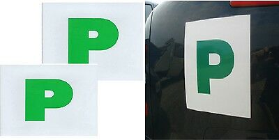 Pack Of 2 X Fully Magnetic Secure Green New Driver P Plates Just Passed Car